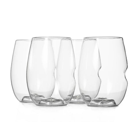 Set of four stemless red wine glasses with a thumb grip for ease of use.