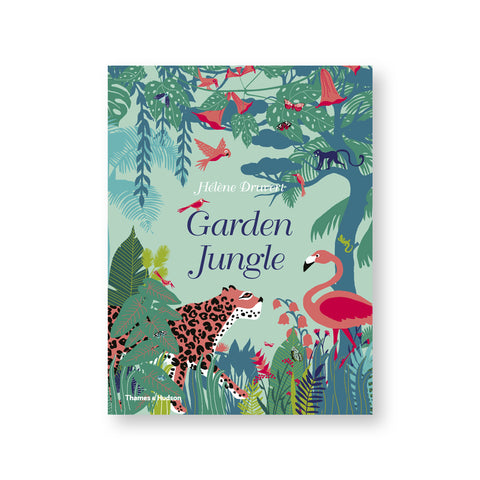 Cover illustration of lush jungle scene in shades of greens and blue with a leopard facing a flamingo.