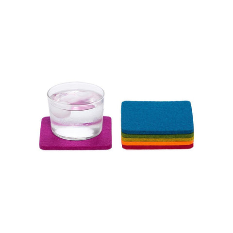 Purple coaster with glass of water on it. next to other available colors in set stacked: bright blue, green, chartreuse, orange, and red.
