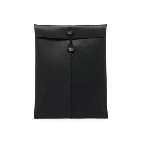 Black envelope style letter-sized document holder shown on white background.