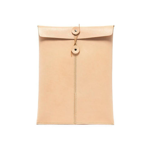 Natural leather envelope style letter-sized document holder shown on white background.