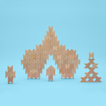 Several sets of beech wood blocks stacked together to form a large tower display.