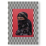 The cover of Hassan Hajjaj featuring a photo of a woman's face. The woman wears a designer hijab with the Gucci logo displayed across the hijab. Her image is cropped and set against a soft red backdrop. Her image is frame by a very busy checkerboard pattern in black and white.
