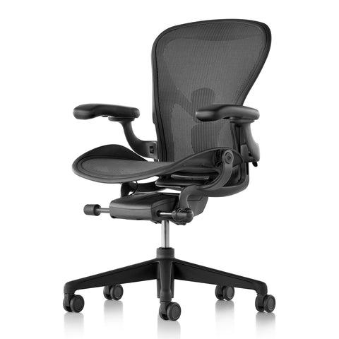Three quarter view front view of curvilinear office chair with dark gray padded arms, mesh seat and back, and five wheel base