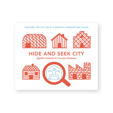"White book cover featuring simple red-orange line drawings of houses, one of which is blue and has a magnifying glass icon hovering over it. Centered text reads: ""Hide and Seek City"""