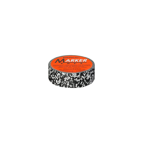 Image of a single role of tape with a black and white marbleized pattern. The Penco logo is printed on a bright orange round sticker that covers the center opening of the roll.