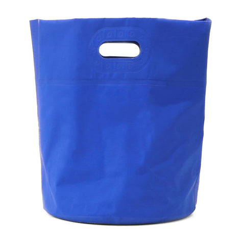 A tall blue rectangular-shaped tarp bag. There is a cut-out located at the top half of the bag for carrying.