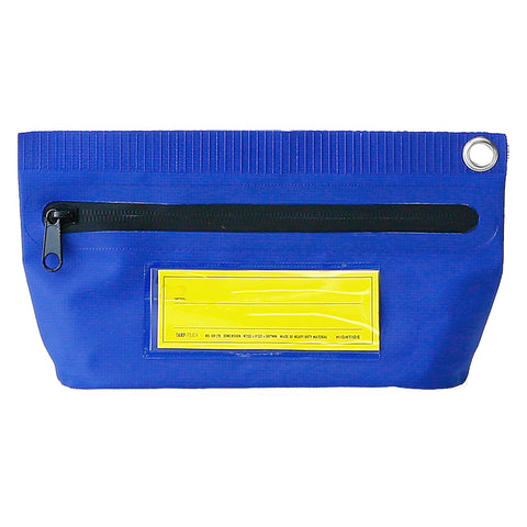 A narrow rectangular blue pouch has a silver grommet in the top right corner and a black zipper closure. The front of the pouch has a transparent pocket with a removable blank yellow label.
