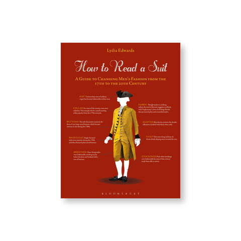 Dark red book cover featuring a mustard-colored 17th century suit and accessories with descriptions pointing to different parts of the costume