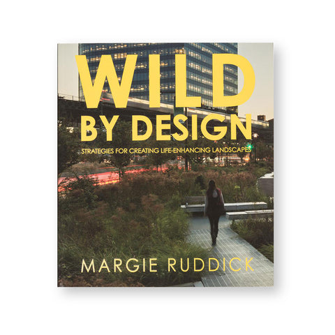 Book cover showing urban landscape design with above ground rail and skyscraper in the background. Book tile in bold yellow font dominates upper half of cover