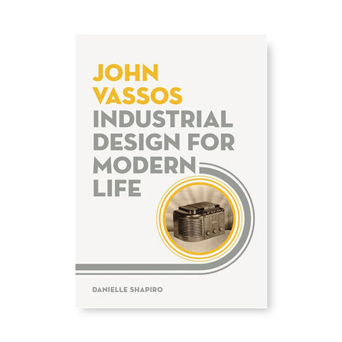 Light gray book cover with title in yellow and medium gray left aligned with art deco ornamentation surrounding a photograph of an early radio