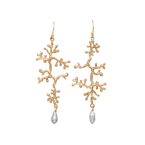 Flat view of Lichen Pearl Earrings. Small, drop-shaped pearl dangles from a long, bronze, lichen-shaped piece, which dangles from an ear wire hook.