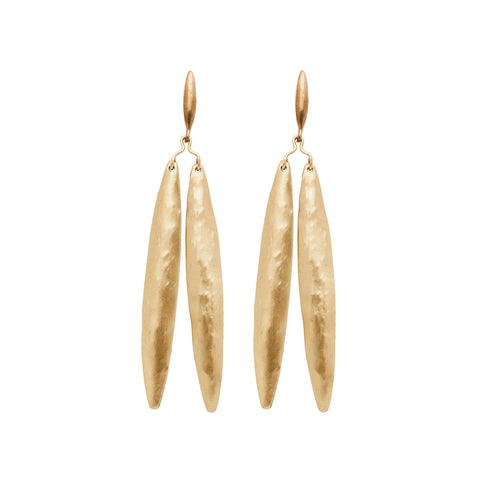 Flat view of Yew Leaf Earrings. Two long hammered bronze leaf shapes dangle from a small, bronze wire branch, which dangles from a small bronze seed shaped piece.