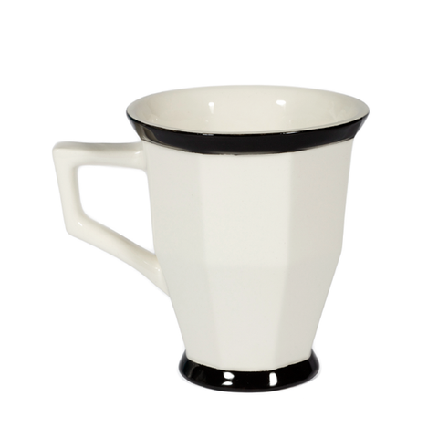 Image of a white faceted mug with square handle. Black trim around rim and base.