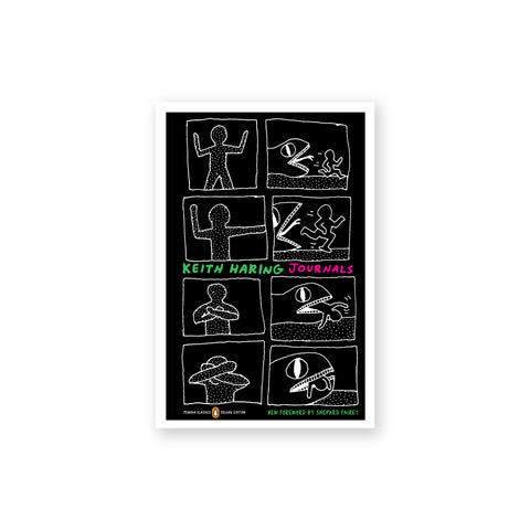 Black book cover featuring white line drawings in comic frames. Text at the center reads: Keith Haring Journals.