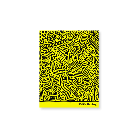Bright yellow book cover featuring all-over Keith Haring black line drawing. Small text at the bottom reads: Keith Haring.