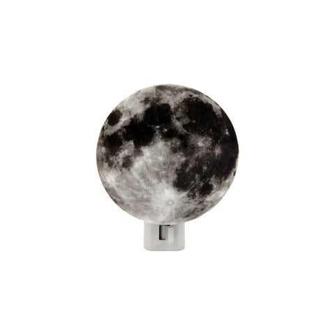 A small round light with an image of the moon adhered to its surface. A white rectangular shaped box is attached at the base and includes a switch, installed at center front, for turning the light on and off.