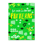 Shapes and patterns decorate the cover of this bright green book. Colors of the shapes include white, yellow, black and orange.