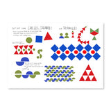 A spread featuring patterns made up of circles, squares and triangles. Included in the spread are shapes in colors blue, red, and green. Shapes are placed against a white backdrop.