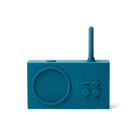 Blue radio facing forward on white background.