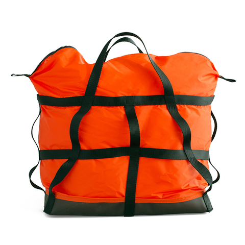 Large orange colored nylon bag with lattice webbing detail and durable vinyl base