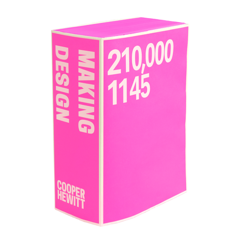 "Pink book cover with white borders. ""Making Design"" in white san serif font on thick spine and ""210,000"" and ""1145"" on front cover"