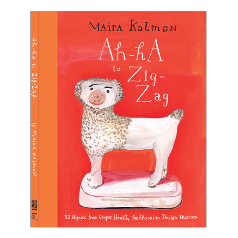 Book cover with illustrated image of a porcelain dog and handwritten title in white against a reddish orange background to the right of an orange spine
