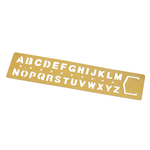 Image of a Midori brass template/stencil. Running horizontally across the top, letters A through M are cut out of the brass. Below are letters N through Z. A row of small cut out dots are between the rows of letters.
