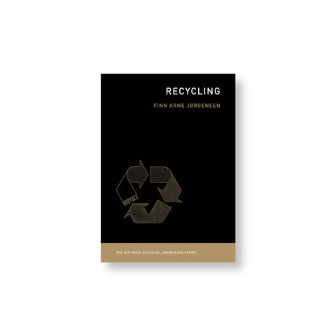 Black book cover with title printed in white in upper right corner and recycling symbol lower left justified.