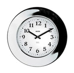 Wall clock with thick mirror-polished edge, white face, and black hands and numbers.