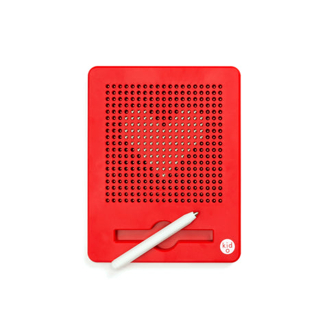 A rectangular shaped drawing board that includes a pen tool. The board is red and displays a series of magnetic beads in the shape of a heart. The brand name is printed on the bottom right of the board.