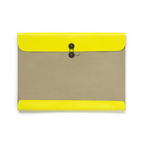 Leather and pressed cotton canvas legal envelope in natural with neon yellow leather closure. Includes black string closure