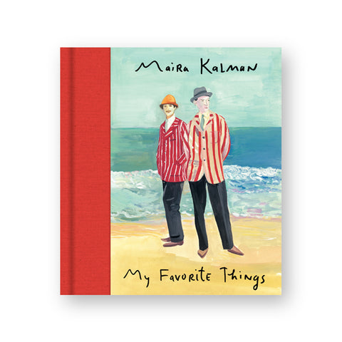 Illustrated book cover with red cloth spine. Illustration shows two figures standing on a beach in red and white striped suits. Title information below in hand written black letters