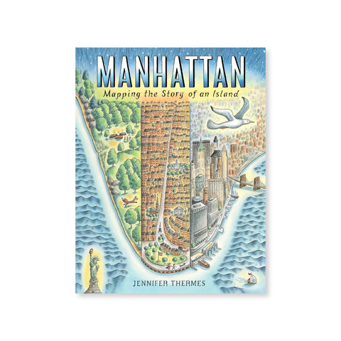 Cover with a full color illustration of the tip of manhattan and water surrounding. Island shown divided in three, early nature on the left, early short rise buildings in the middle, and modern skyscrapers on the right