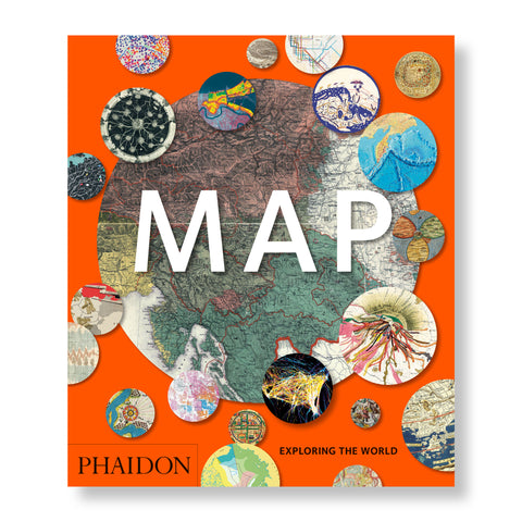 Hardback book with orange cover. The book cover features  a large centrally located circle of a portion of the world map. The large circle is surrounded by 21 smaller circles that are also maps.