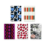 Selection of five postcards with various Marimekko signature prints in geometric patterns, florals, and fruits.