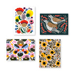 Selection for four greeting card covers with Marimekko florals and bird prints.
