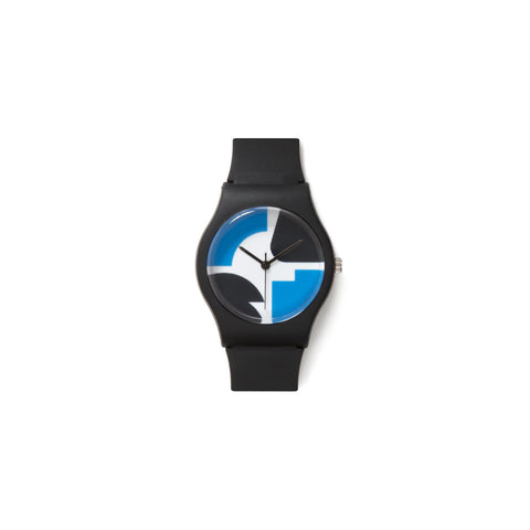 Minimalistic wristwatch featuring four abstract forms in blue and black on the face watch with three slim black watch hands. Matte Black corpus and wristband.