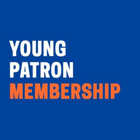 "Dark blue background with ""Young Patron Membership"" in white and orange text."