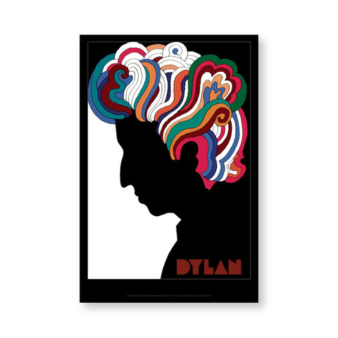 "Bob Dylan's black silhouette in profile, his abundant curly hair rendered in saturated colors that stand out in high contrast from the white ground. ""Dylan"" appears lower right in stylized maroon block letters over black. A thin gray line surrounded by a wide black border frames the image."