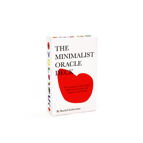 "White, rectangular card box, featuring red abstract shape on the front and colorful shapes on the sides. ""THE MINIMALIST ORACLE DECK"" reads on the top left in four lines."