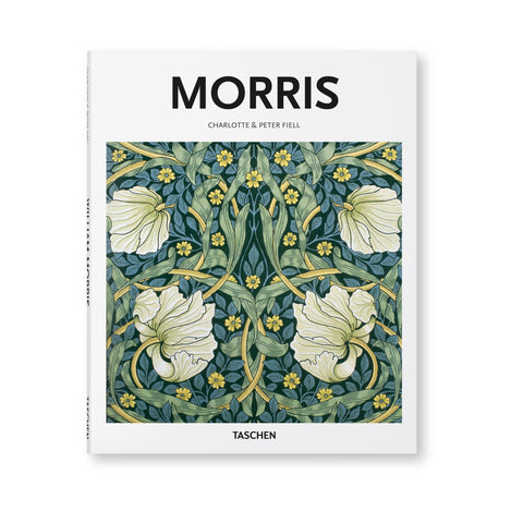 Cover of the book Basic Architecture: Morris published by Taschen. The cover is white with black text and features a drawing of a floral display in shades of dark green, blue, yellow, and white. The style of drawing is from the 20th century and was most likely used as a wallcovering.