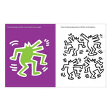 Interior spread with a green dancing dog with a purple background and four more dancing dogs in black and white on the right for you to fill in with colors or patterns