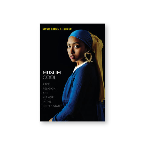 "Muslim Cool book cover featuring a photograph of a woman in profile wearing large, gold heart-shaped bamboo, mimicking the painting ""Girl With A Pearl Earring."""