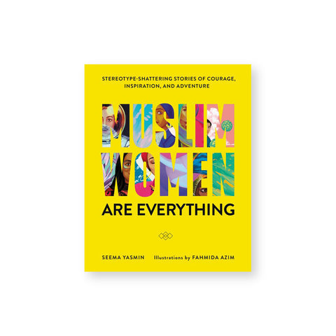 "Bright yellow cover with bold text ""Muslim Women"" through which illustrations of various muslim women shine through."