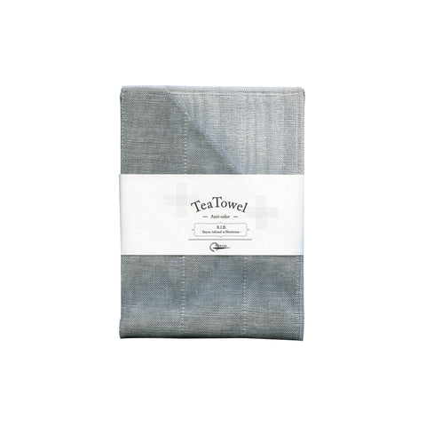 Gray tea towel folded with white belly band packaging.