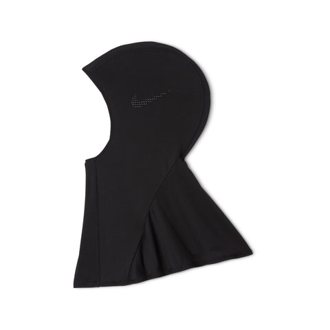 All black Nike hijab laying flat on white background showing side profile with Nike swoosh on left side of hijab.