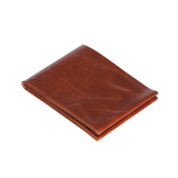 Overhead view of a folded, rectangular Cognac Flap Wallet on a white background.