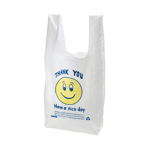"Front view of white bag propped up with self handles. A yellow smiley face is in the center. ""Thank you, Have a nice day"" is written above and below smiley face in blue thread."