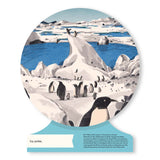 A circular page from the book Our World illustrating an icey landscape with penguins standing in small groups.